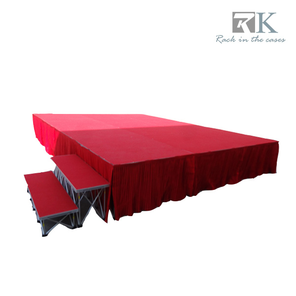 "4x4 Portable Indoor Stage building surface platform with 24"" legs in red"